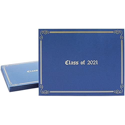 Class of 2021 Diploma Holders, Blue Letter Size Certificate Covers (12 Pack)