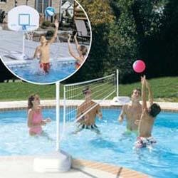 Dunn Rite H2O Hoops Poolside Basketball & Volleyball Game Set