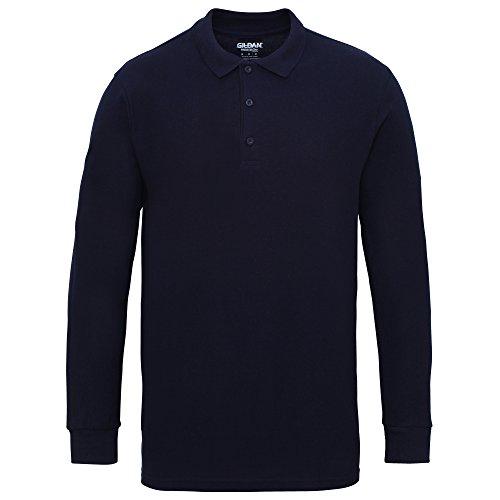 Gildan - Polo de manga larga algodón pique doble hombre caballero (Grande (L)/Azul marino)