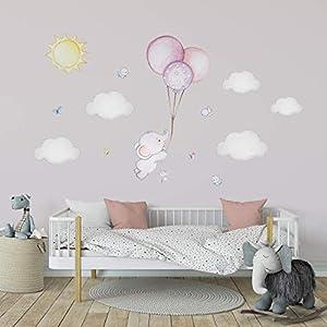 Ballon Wandtattoo Elefant Wandaufkleber Elefant Babyzimmer Aufkleber Kinderzimmer Wandtattoo Mädchen Babyzimmer…