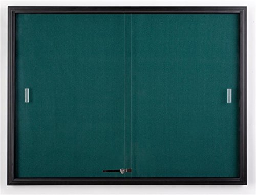 4 x 3 Foot Teal Fabric Tack Board for Wall Mount Use, Locking Sliding Glass Door, 48 x 36 Inch Enclosed Bulletin Board for Indoor Use - Black Aluminum with Teal Fabric