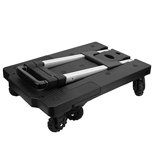 Alomejor Carretilla de Mano de 7 Ruedas, Carro de Equipaje Plegable silencioso Carro de Mano con Plataforma de aleación de Aluminio portátil