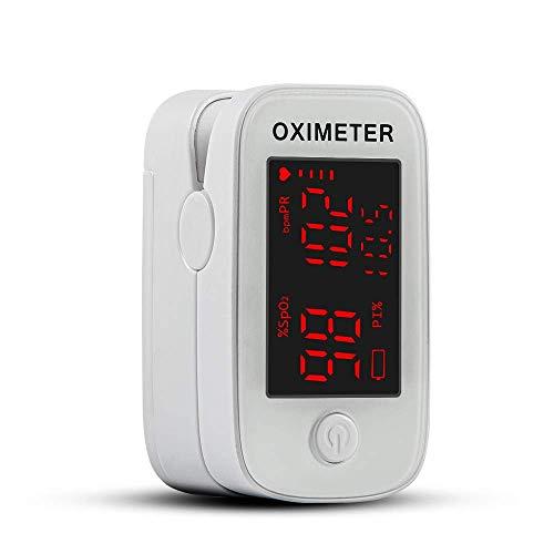 Oxímetro de Pulso con Punta de Dedo, Monitor de Saturación de Oxígeno en la Sangre, Medidor de Oxígeno Spo2 y Frecuencia Cardíaca Precisa, Oxímetro con Cordón y Baterías, Blanco