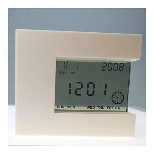 Viviendo despertador Habitación dormitorio Reloj Digital giratoria de inducción de cuatro caras del reloj de alarma ajustable 1PCS del reloj, Mesilla de noche, escritorio, estante (Color: Negro) fengo