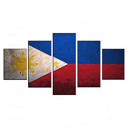 SVDS Modulare Leinwand Bilder Home Wandkunst Dekor HD Drucke Poster 5 Stück Flagge Philippinische Gemälde für Wohnzimmer-Rahmen