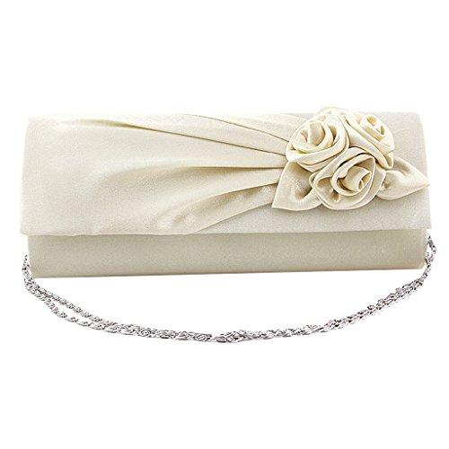 Frauen Clutches Handtasche Schulter Kupplung Tasche Satin Rose Abend  Partei (Creme)