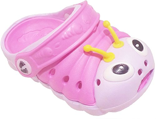Clogstrom Clogs for Infant or Toddler Boys and Girls Unisex Sandal Animals Shoe (6 Pink/Off-White)