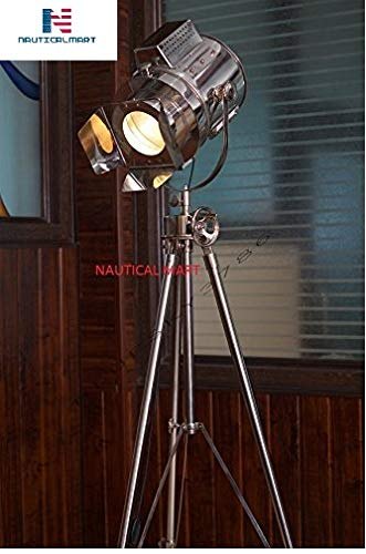 1960'S VINTAGE DESIGNS ADJUSTABLE THEATER SEARCHLIGHT TRIPOD FLOOR LAMP CHROME FINISH INDUSTRIAL NAUTICAL FLOOR LAMP