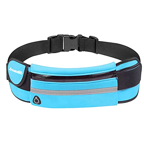 Running Pouch Belt Waist Pack Bag,Workout Fanny Pack,Bounce Free Jogging Pocket Belt–Travelling Money Cell Phone Holder for Running Accessories (Light Blue)