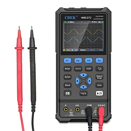 Osciloscopio digital Anmascop, comprobador universal 3 en 1, 70 MHz, LCD de 3,5 pulgadas, osciloscopio de 2 canales + generador de 1 canal, 250MSa / s