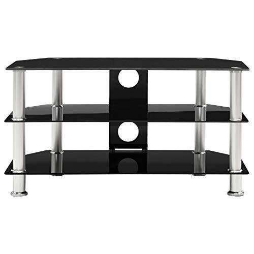 Estink TV-Schrank Stand TV-Ständer aus gehärtetem Glas, Gestell aus Stahl und Beinen aus Edelstahl, mit 2 Ablagen...