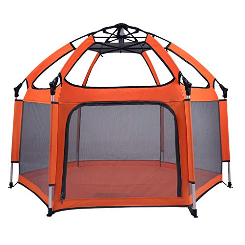 XINYAN JIA Children's Playpen Play Yard, Pop Up Foldable And Portable Lightweight Safe Indoor Outdoor Playpen, Children Safety Fence Room Pool Play Tent with UV Canopy