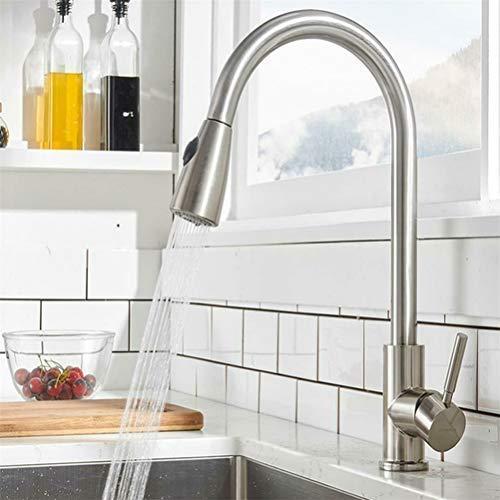Grifos para fregadero de cocina de níquel cepillado de acero inoxidable con rociador extraíble giratorio 360