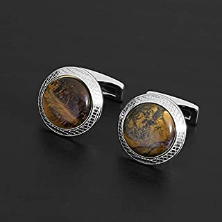 CUFFLINKS FOR MEN SILVER BROWN