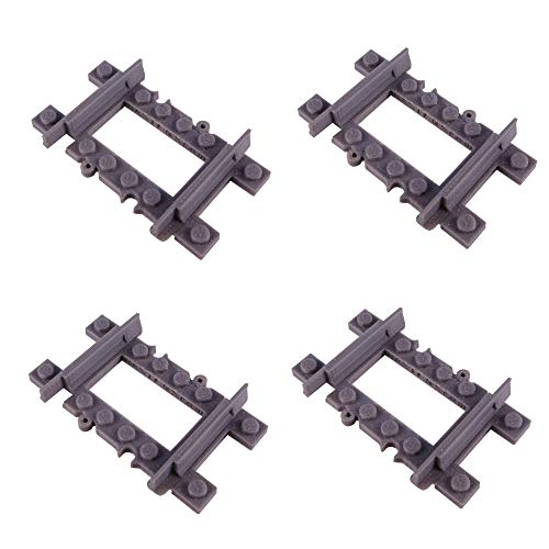 Bastens Straight Quarter Track Rail 4pcs for Toy Train Compatible with Lego City kit Trixbrix Enlighten Slick Bricks Switch Curved Splitter Flexible Half 1/2 1/4 -  1-4-track-lego-compatible