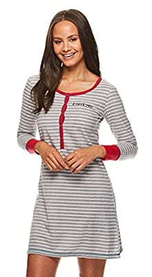 bebe Womens Long Sleeve Waffle Henley Nightgown Lounge Pajama Dorm Sleep Shirt Red Medium
