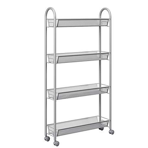 HOMFA 4Tier Gap Kitchen Slim Slide Out Storage Tower Rack with Wheels Cupboard with Casters  Silver