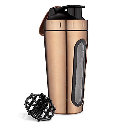 Navaris Shaker de proteína - Agitador portátil de bebidas proteínas de 1L para fitness gym entrenamiento - Batidora de acero inoxidable sin BPA