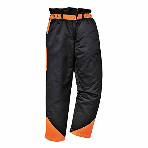 Portwest Oak kettingzaag bescherming broek - CH11 - zwart/oranje, Large - Large EU/Large UK