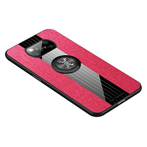 HAOTIAN Hülle für Xiaomi Poco X3 NFC, 360 Grad Ring Stand [Kompatible Magnetische Autohalterung] Schutzhülle, [TPU Rahmen] Handyhülle, Stoff - Backcover Cover Canvas Design. Rot
