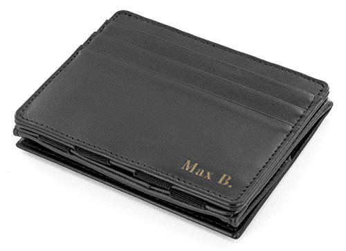 Jaimie Jacobs Jaimie Jacobs Magic Wallet Flap Boy - das Original - mit Gravur (Initialen oder Name) Magischer Geldbeutel magisches Portmonaie Brieftasche mit Kleingeldfach Geschenk Herren echtes Leder