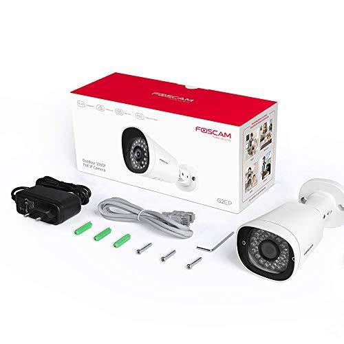Foscam G2EP 1080P IP-camera, PoE, bewegingsdetectie, nachtzicht, compatibel met Alexa, PoE, P2P, IP66, ONVIF