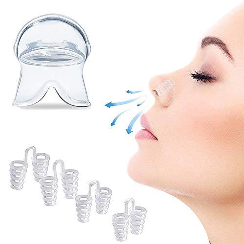 C100AE ANTI-SCHNARCH-MUNDSTÜCK ZUNGEN-RETAINER hilft das Schnarchen verhindern, und Anti Schnarch Nasenclip 2 Stück, Silikon Soft Bequemes Tragen