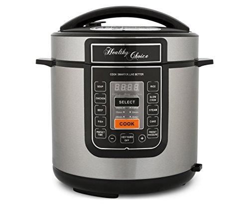 Slow Cooker Pressure Cooker By Healthy Choice| 1000 Watt | Non-Stick | Led Display | 6 Pressure Selection | 8 Cooking Programs | Free Spoon And Measuring Cup