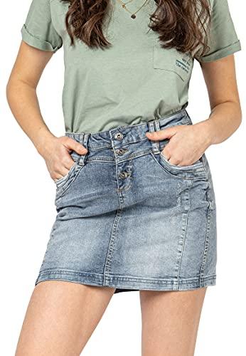 Sublevel Damen Jeans Mini-Rock mit Knöpfen im Used Look Blue XXL