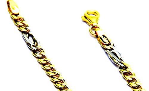 Collana Oro Giallo Bianco 18kt (750) Catena Pernice Grumetta Bicolore Cm 50 Uomo