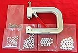 Máquina de pinza aplicadora con 150 perlas con remache pin de 4 tamaños diferentes para fijar perlas redondas redondas ropa decoración piel bolsos zapatos manual
