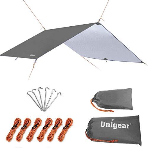 Unigear Toldo Camping Impermeable Lona Suelo Protector Aolar Anti-Viento Toldos para Playa Tienda Hamaca Acampada Refugio Al Aire Libre (Gris, 300X400CM)