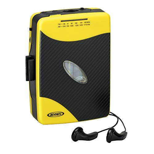 Jensen Portable Stereo Cassette Player with AM/FM Radio + Sport Earbuds (Yellow)
