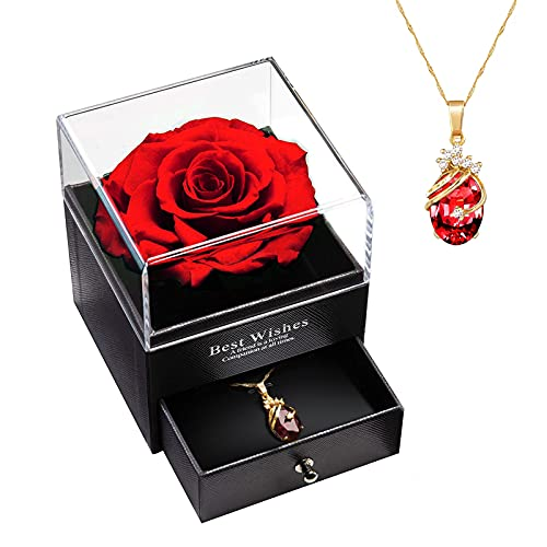 Flor Real Preservada con Collar, Rosa Eterna Hecha a Mano Caja de Regalo para Día de San Valentín, Aniversario, Cumpleaños para Mamá/Esposa/Novia