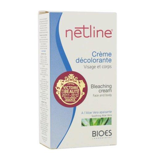 Netline - Crème décolorante visage et corps duvets sombres à l'aloé Vera apaisante testée sous contrôle dermatologique - Boîte de 2 tubes (40 ml & 20 ml) + coupelle + spatule