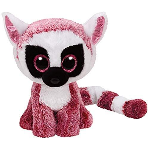 TY 37225 Leeann 37225-Leeann-Lemur Pluschtier mit Glitzeraugen Beanie Boo's, rosa