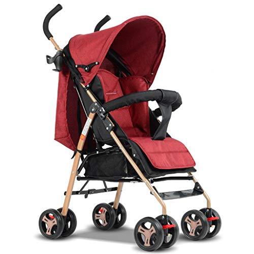 Les poussettes de bébé 2 en 1 ultra-légères se plient peuvent s'asseoir peuvent s'allonger haut paysage parapluie bébé chariot de voyage système poussettes (Color : Red)