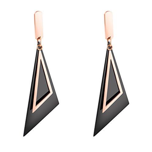 B.Z La Vie larga pendientes mujer Grandes acero inoxidable Triángulo Rosa de Oro acanalado y negro estilo moderno