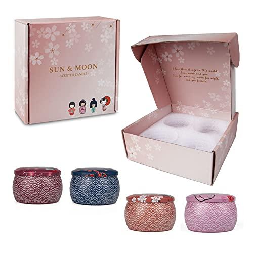 tyui, set di 4 candele profumate, olio essenziale di soia, senza fumo, per alleviare lo stress, il bagno, lo yoga, il compleanno delle donne