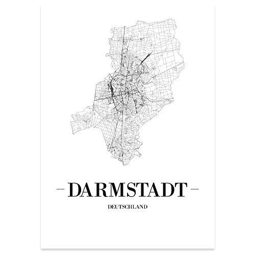 JUNIWORDS Stadtposter, Darmstadt, Wähle eine Größe, 40 x 60 cm, Poster, Schrift A, Weiß