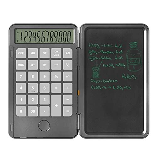 Findema 12-stelliger Taschenrechner (mit USB Aufladen) Klein Rechner mit 6,5 zoll Schreibtafel für Rechnen& Notizen