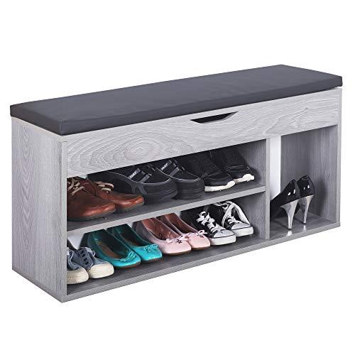 RICOO WM034-EH-A Banco Zapatero 104x49x30cm Armario Interior con Asiento Organizador Zapatos Mueble recibidor Perchero Madera Roble Gris
