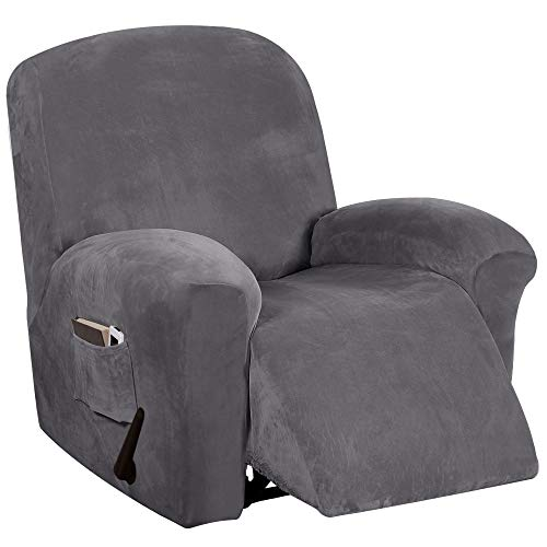 Velvet Stretch Recliner Chair Covers Recliner Covers for Electric Manual Style   Furniture Covers for Reclining Chairs with Side Pocket, Soft Thick Form Fitted Standard Oversized - Gray