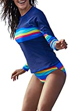 Blibea Women Two Piece Swimsuit Long Sleeve Sporty Rashguard Tops Shirt with Bottom Striped Bathing Suit Blue Large