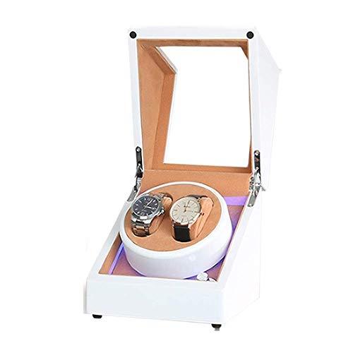 AMAFS Caja de doble reloj blanco para reloj automático incorporado luz LED piano pintura exterior fuente de alimentación dual silencioso Motor festival
