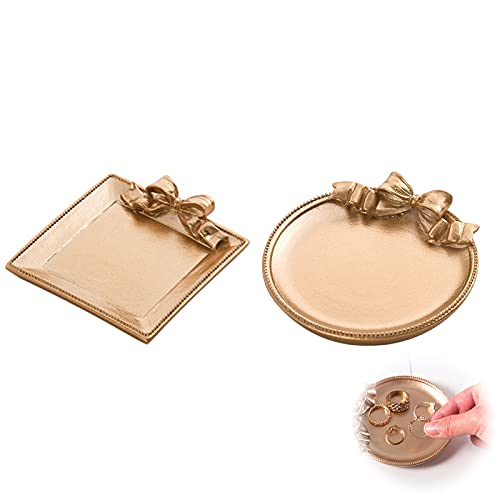 2 Pcs Bandeja Dorada Decorative para Anillo Cosméticos Plato de Joyería de Resina Plato de Almacenamiento de Joyas para Escritorios de Oficina en Casa - Golden (Cuadrado + redondo)