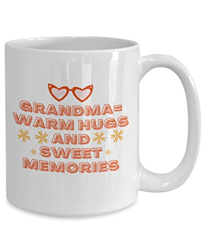 DKISEE Taza de café – Grandma = Warm Hugs And Sweet Memories – Abuela, Nana, cumpleaños, regalo de 325 ml