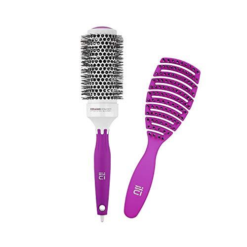 T4B ILU Set Brosses A Cheveux 1 Brosse Démêlante Et 1 Brosse Coiffante (Violettes)