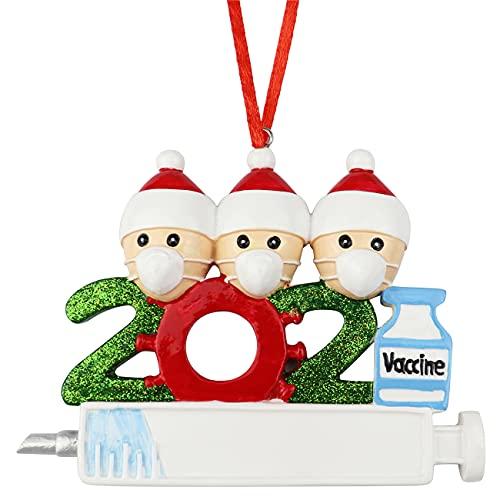 decorazioni natalizie 2021 2021 Decorazione natalizia in resina 3D per albero di Natale 2021 con famiglia vaccinata