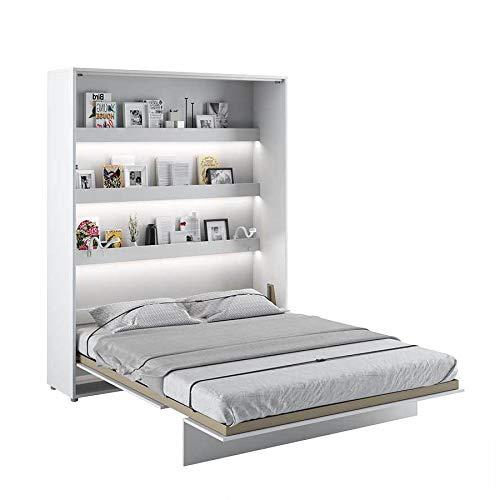 LENART Bed Concept - Cama plegable vertical (160 x 200 cm), color blanco